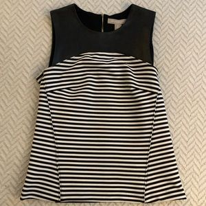 Banana Republic- Leather Yoke Striped Shell-Size 0